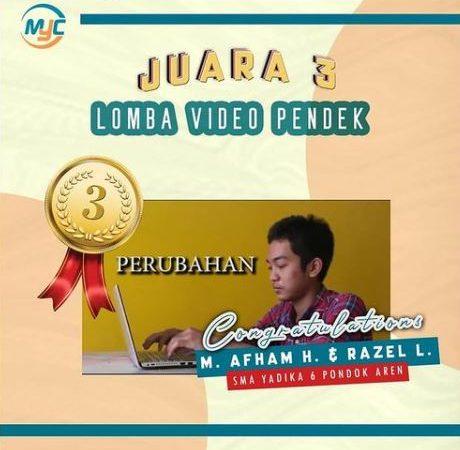 Juara 3 Lomba Video Pendek dalam acara Moslem Youth Competition III